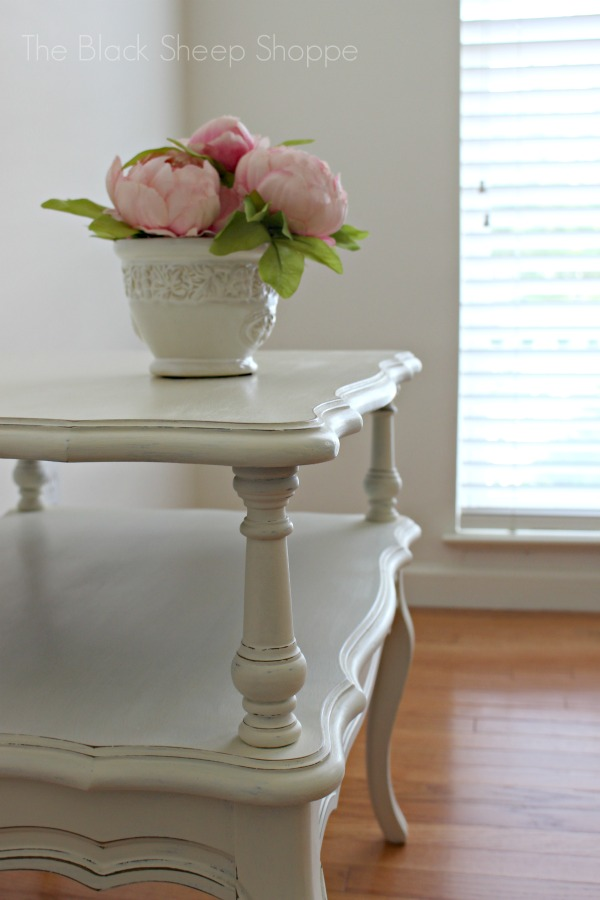 End table painted in Old White with a vase of pink peonies.