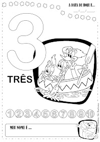 Atividades Númerp 1,2,3 e 4 Pica pau colorir