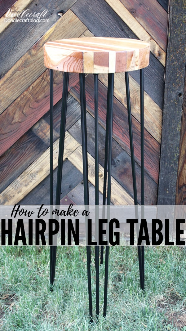 Make a stunning table using reclaimed wood and DIY Hairpin Legs! This versatile table can be used for anything and everything. Is there a wedding in your future? This is the perfect wedding cake table. Perfect on the patio for cocktails or in the living room holding a big plant. What will your table be used for?