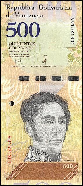 Venezuela Currency 500 Bolivares Soberanos banknote 2018 Simon Bolivar