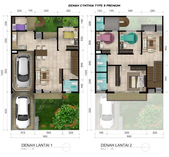 Denah rumah minimalis ukuran 9x15 meter 5 kamar tidur 2 lantai
