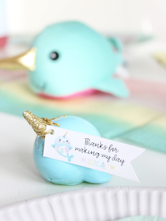 Narwhal birthday party favors