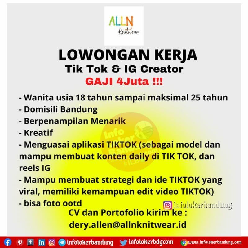 Lowongan Kerja Tik Tok & IG Creator Alln Knitwear Bandung Agustus 2021
