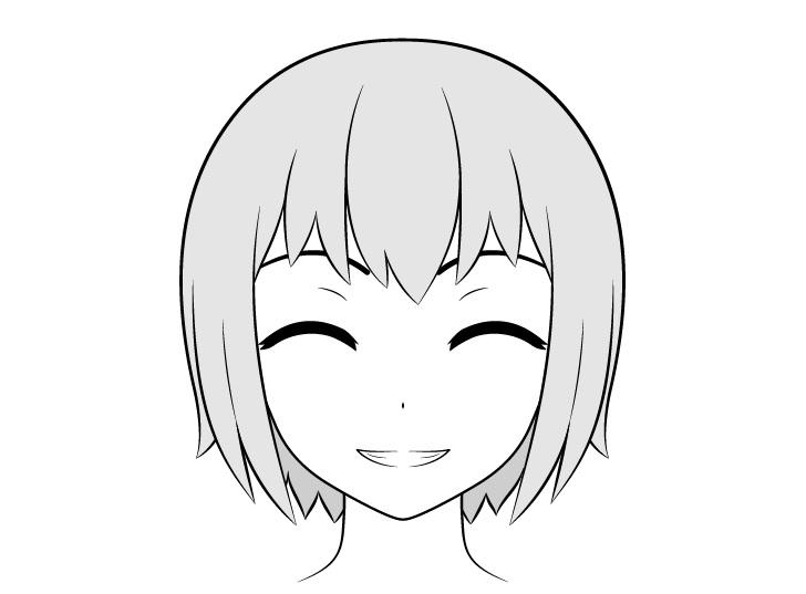 Anime menggambar wajah tersenyum