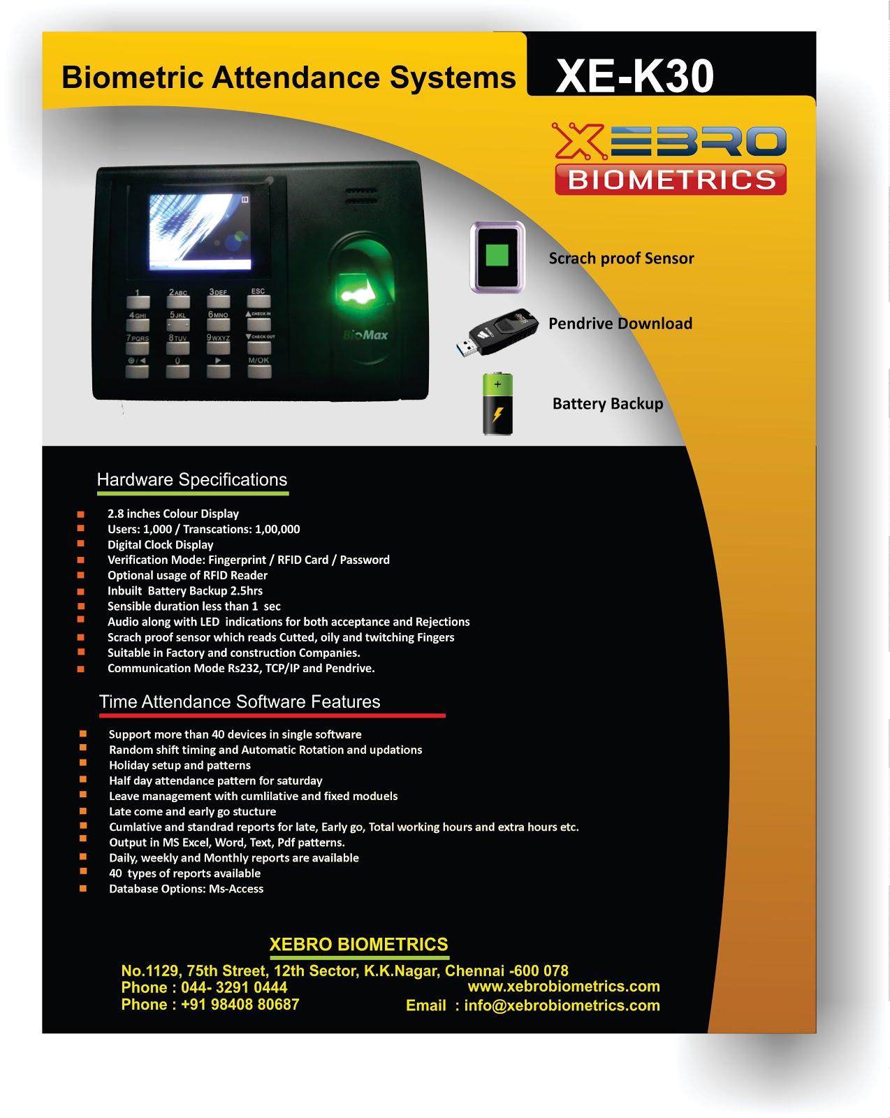 Time Clocks Color Fingerprint Time Clock with Backup Battery+TCPIP+