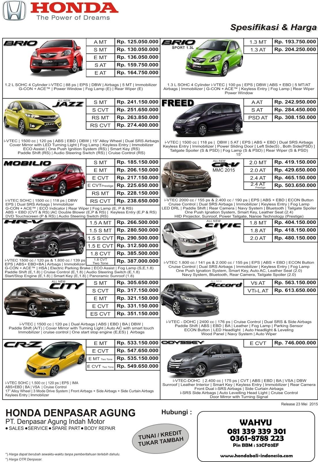 Kekurangan Daftar Harga Mobil Honda Review
