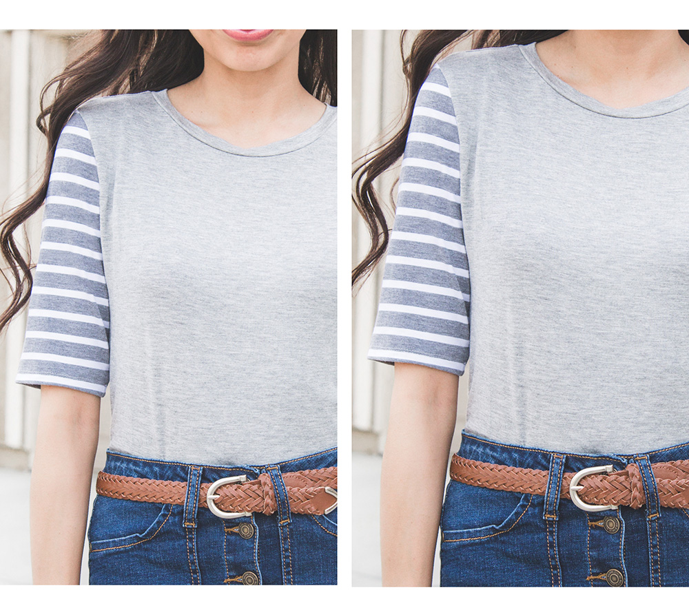 grey tee with striped sleeves