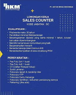 Lowongan Kerja Sales Counter PT. Anyar Retail Indonesia