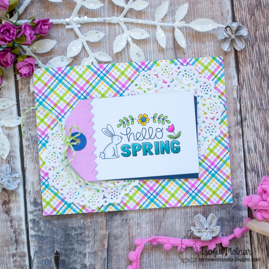 Hello Spring circle Card by Zsofia Molnar | Hello Spring Stamp Set by Newton's Nook Designs #newtonsnook #handmade
