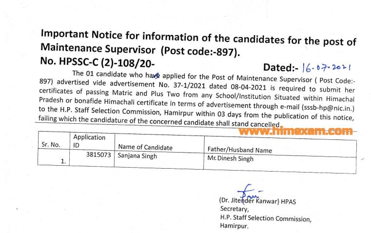 lmportant Notice  for the post of Maintenance Supervisor (post code:897)-HPSSC Hamirpur