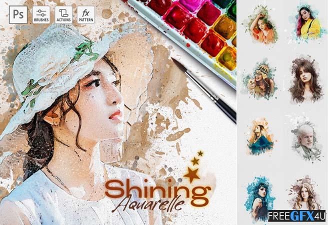 Shining Aquarelle Watercolor Photoshop Action