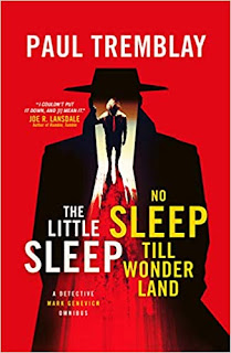 Book cover in red with a man in a hat silhouette. The silhouette turns into a shadow with an open doorway lit in the centre