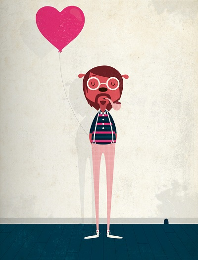por Andrew Bannecker - Love is in the air | illustration art drawing, ilustraciones hipster, imagenes chidas, bonitas, lindas, dibujos, cool stuff.