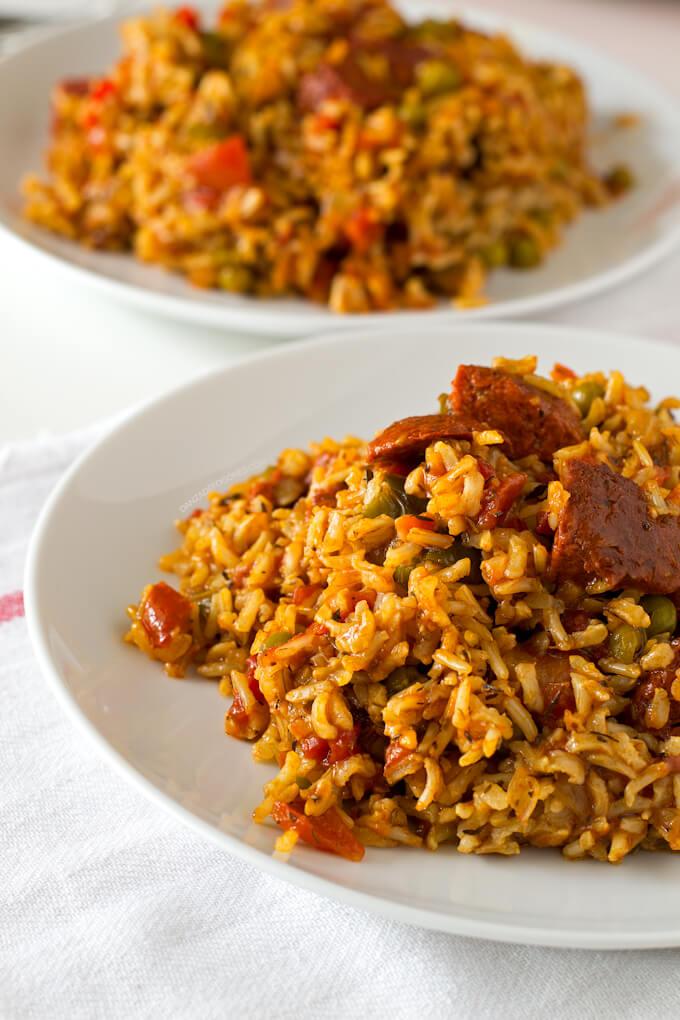 Vegan rice with chorizo