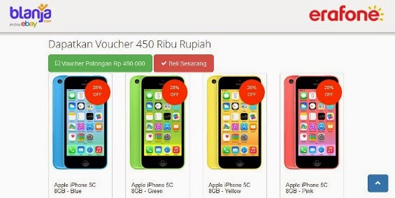 promo Apple iPhone 5C 8GB