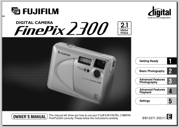 Fujifilm Finefix 2300 Manual