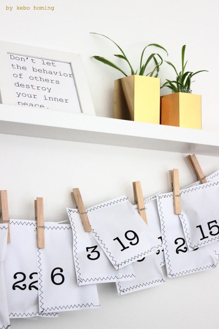 Adventskalender basteln, DIY Adventskalender nähen, schlichte minimalistische Adventsdekoration, Weihnachtsdeko