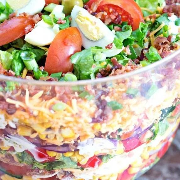 Chicken Bacon Ranch Layer Salad #healthyrecipes #dressing