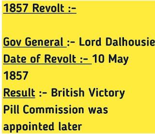 Short Note on revolt of 1857
