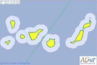 Activan avisos Canarias por lluvia y viento, sábado 11 febrero
