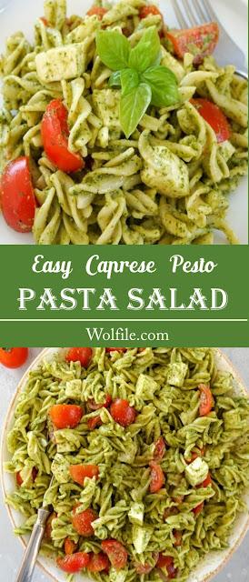 Easy Caprese Pesto Pasta Salad Recipe #Pasta #Salad