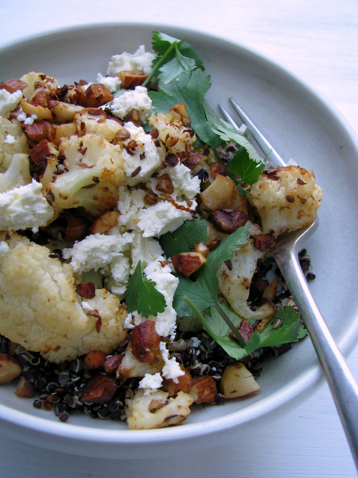 Spice Roasted Cauliflower With Black Quinoa Feta And Almond Recipe My Darling Lemon Thyme