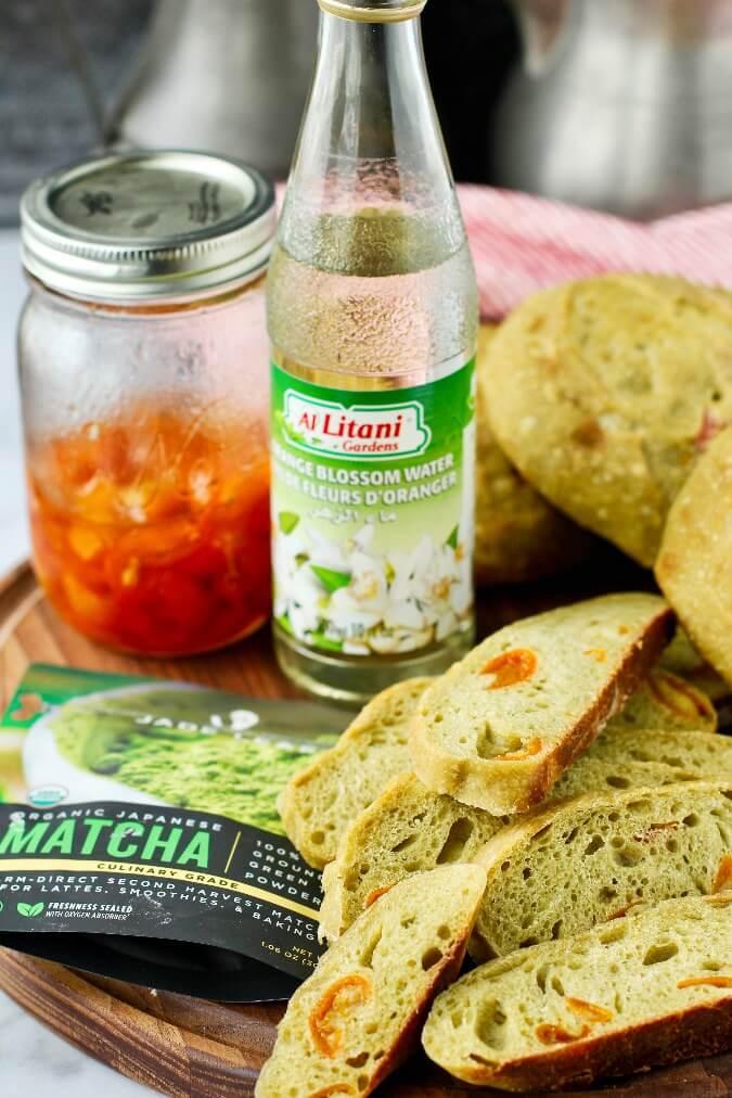 Matcha Tea and Candied Kumquat Bread