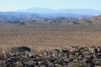 View west toward the Wonderland of Rocks and distant San Gorgonio Mountain from the summit of Negro Hill (4875'), Joshua Tree National Park