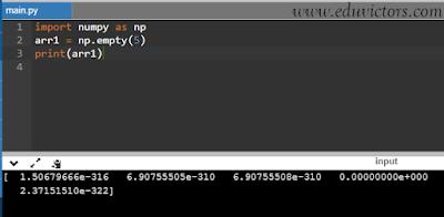 eduvictors.com Q3: Create an 1D array of 5 elements with random values in numPy.
