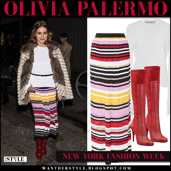 Olivia Palermo in brown fur coat dennis basso, white top and striped knit midi skirt carolina herrera fashion week outfit february 12