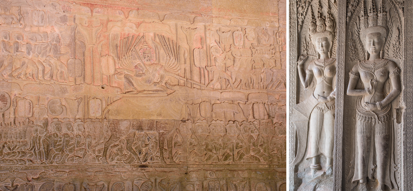 details and wall carvings of legend and immortality angkor wat temple siem reap cambodia