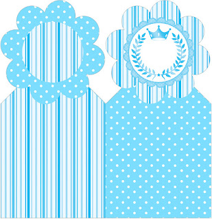 Light Blue Crown in Stripes and Polka Dots  Free Party Printables for a Quinceanera Party.