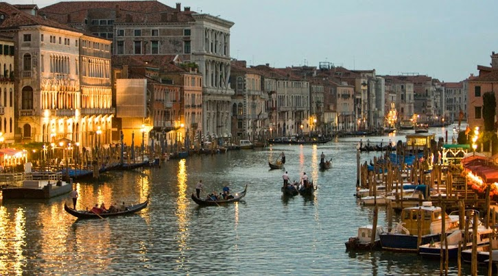 Lovely Grand Canal in Evening Venice Italy