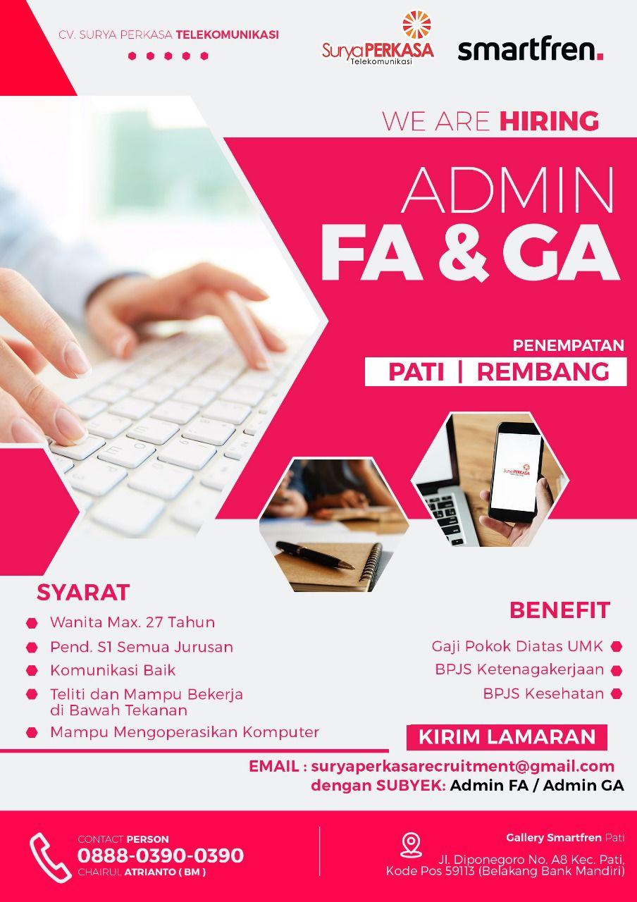 Lowongan Kerja Admin FA Dan Admin GA CV Surya Perkasa Telekomunikasi Smartfren Rembang