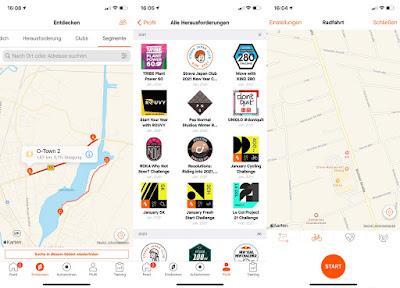 Strava App auf Smartphone