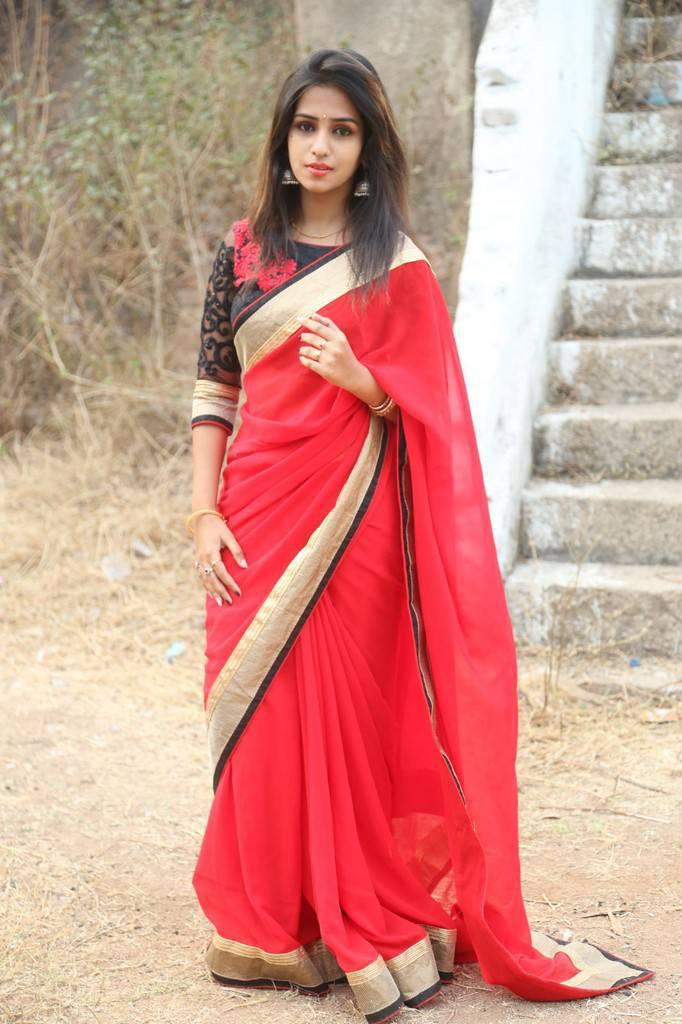Actress Deekshitha Parvathi Navel Show In Red Saree
