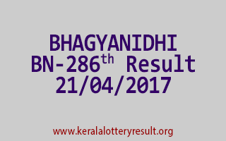 BHAGYANIDHI Lottery BN 286 Results 21-4-2017