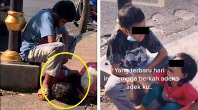 BIKIN TERHARU! Potret Bocah Jualan Kue, Kakak Lindungi Adik dari Matahari saat Tidur di Jalanan