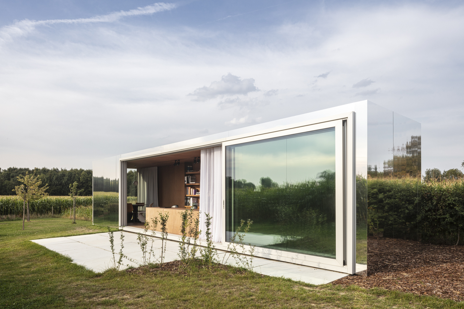 Shipping Container Homes Buildings Office In 40 Ft Shipping Container Covered With Mirrored Aluminum Panels Belgium