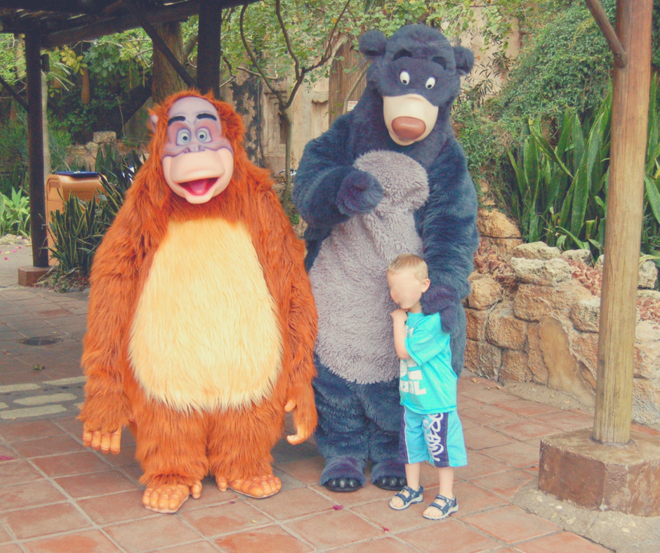 Baloo and King Louie character greeting in Animal Kingdom, Walt Disney World