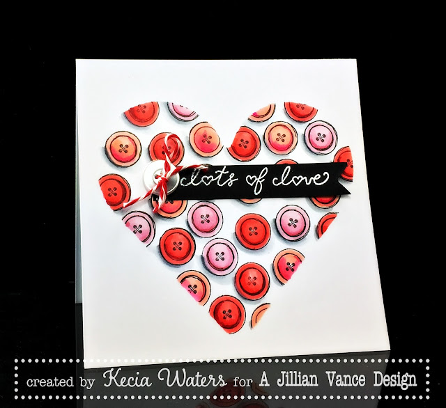 AJVD, Kecia Waters, Valentine's Day, buttons, heart, Copic markers