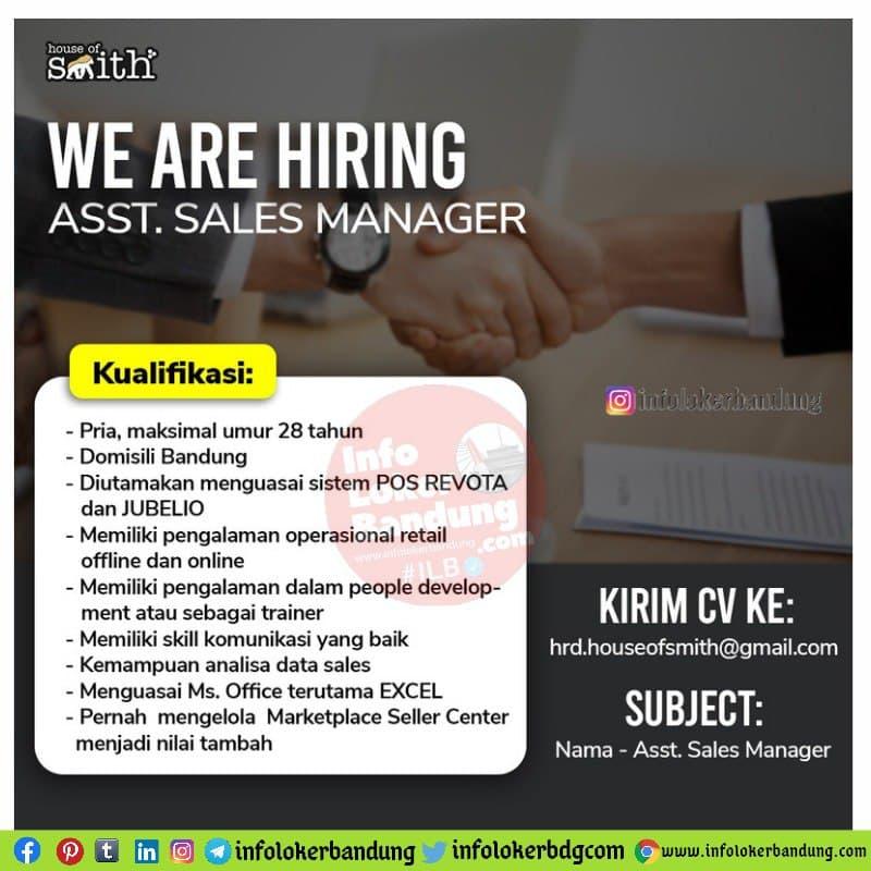 Lowongan Kerja Asst. Sales Manager House Of Smith Bandung Mei 2021