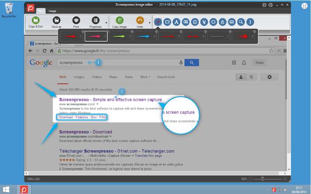تحميل وشرح برنامج Screenpresso تصوير شاشة الكمبيوتر الكتابة والتعديل على الصور بالمجان