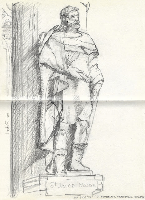 Schetsboektekening Sint Romboutskathedraal Mechelen