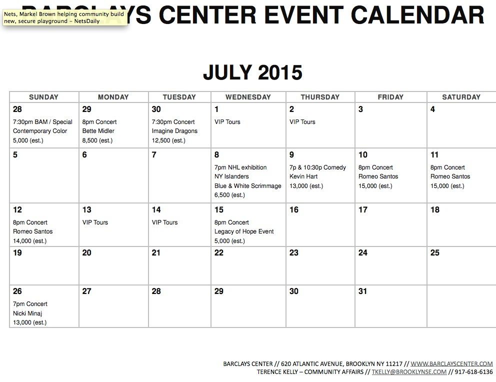 Barclays Center Releases July 2015 Event Calendar Also August And