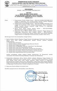 Hasil Seleksi Tahap Akhir Calon Pejabat Pimpinan Tinggi Pratama di Lingkungan Pemkot Tarakan Tahun 2019