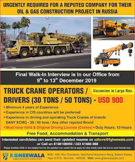 Truck Crane Operators Drivers for Russia