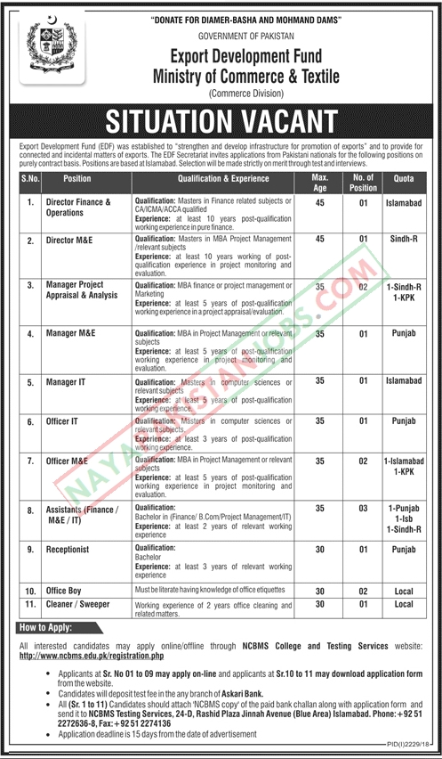 Latest Vacancies Announced in Ministry Of Commerce And Textile Government of Pakistan Export Development Fund 19 November 2018 - Naya Pakistan