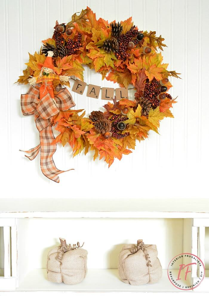 Easy Peasy Fall Wreath With Banner
