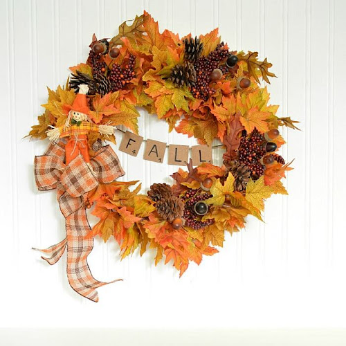 Easy Peasy DIY Fall Wreath With Scrabble Tile Banner